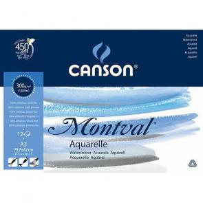BLOCCO CANSON MONTVAL 30X42 cm 12 FOGLI 300 g/m² GRANA FINE