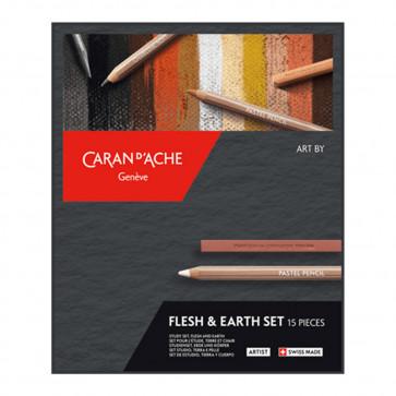 CARAN D'ACHE FLESH & EARTH SET 5 PASTEL PENCILS + 5 CUBES