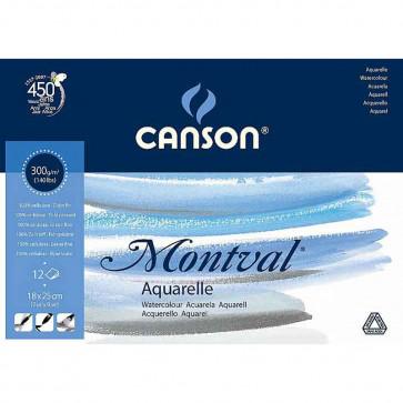 BLOCCO CANSON MONTVAL 18X25 cm 12 FOGLI 300 g/m² GRANA FINE