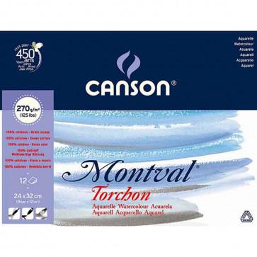 BLOCCO CANSON MONTVAL 24X32 cm 12 FOGLI 270 g/m² GR. TORCHON