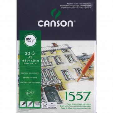 BLOCCO CANSON 1557 A5 30 FOGLI 180 g/m² COLLATI LATO CORTO