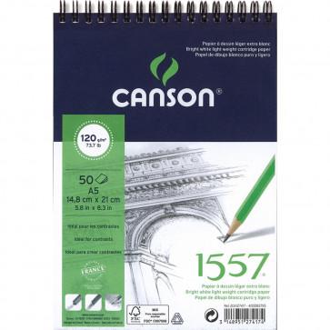 BLOCCO CANSON 1557 A5 50 FOGLI 120 g/m² RILEGATI A SPIRALE