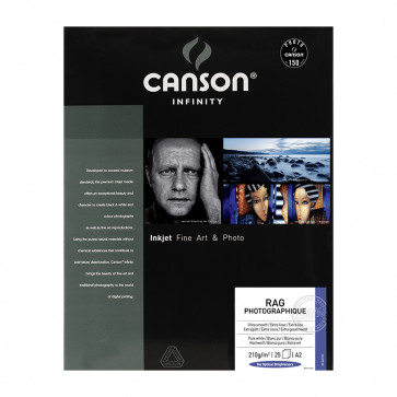 CANSON RAG PHOTOGRAPHIQUE 210g A2 (42X59.4) 25 f 100% COTONE
