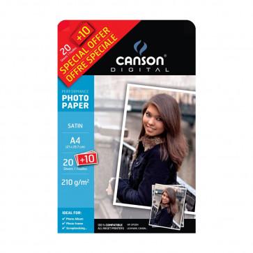 CARTA FOTOGRAFICA A4 210g SATINATA 20 FOGLI + 10 OMAGGIO