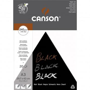 BLOCCO CANSON BLACK 29,7X42 20 FOGLI NERO PROFONDO 240 g/m²