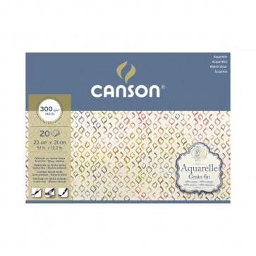 BLOCCO CANSON AQUARELLE 23X31 cm 20 FF 300 g/m  GRANA FINE