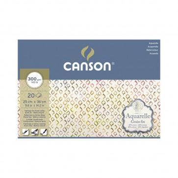 BLOCCO CANSON AQUARELLE 25X36 cm 20 FF 300 g/m GRANA FINE