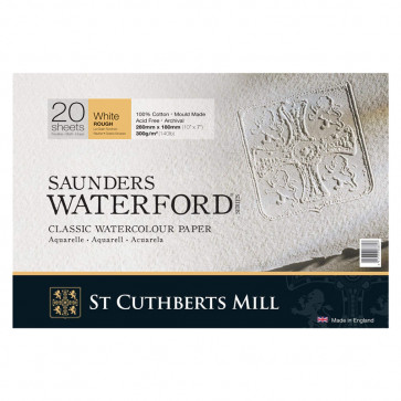 BLOCCO SAUNDERS WATERFORD 26X18cm 20 FF 300 g/m  WHITE ROUGH