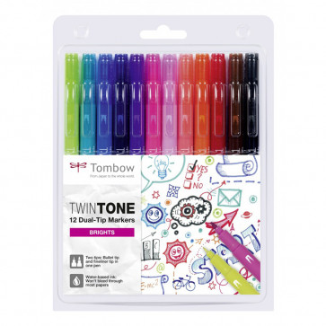 SET 12 PENNARELLI TOMBOW TWIN TONE COLORI PASTELLO