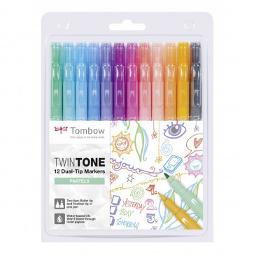 SET 12 PENNARELLI TOMBOW TWIN TONE COLORI BRILLANTI