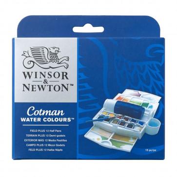WINSOR & NEWTON COTMAN FIELD PLUS 12 COLORI + PENNELLO