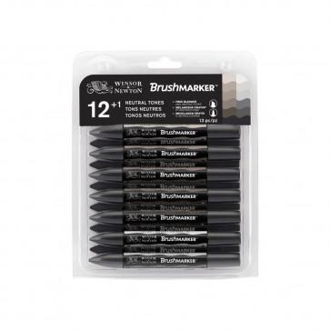 BRUSHMARKER WINSOR & NEWTON SET 12 COLORI NEUTRI + BLENDER