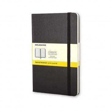 MOLESKINE LARGE SQUARED NOTEBOOK BLACK HARD COVER 13X21 cm