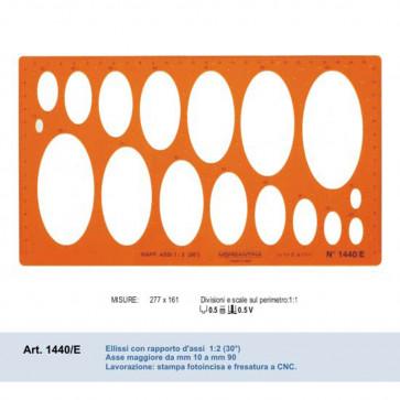 mascherina ellissi rapporto assi 1:2 asse magg. da 10 a 90mm