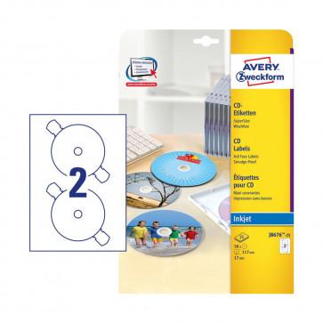 ETICHETTE CD AVERY OPACHE FULL FACE 25 FOGLI 50 ETICHETTE
