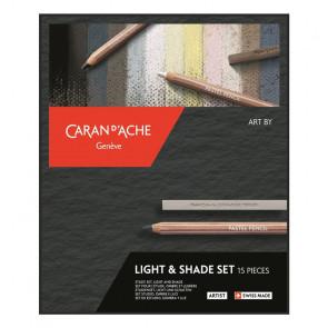 SET LIGHT & SHADE CARAND'ACHE 6 PASTEL PENCILS + 5 CUBES