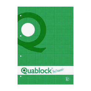 QUADERNO QUABLOCK A5 PAGINE FORATE STACCABILI QUADRETTO 5 mm