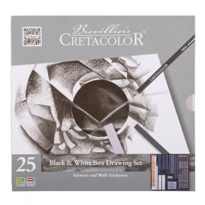 SET CRETACOLOR BLACK & WHITE ASORTIMENTO 25 PZ. BOX METALLO