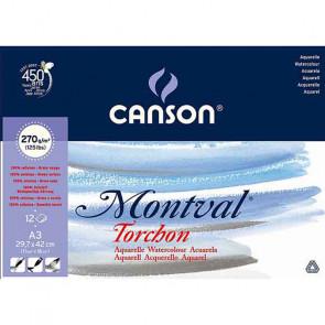 BLOCCO CANSON MONTVAL 30X42 cm 12 FOGLI 270 g/m² GR. TORCHON