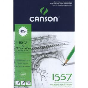 BLOCCO CANSON 1557 A3 50 FOGLI 120 g/m² COLLATI LATO CORTO