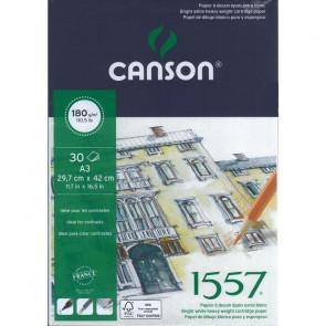 BLOCCO CANSON 1557 A3 30 FOGLI 180 g/m² COLLATI LATO CORTO