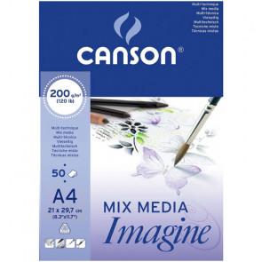 BLOCCO DISEGNO CANSON IMAGINE 50 FOGLI A4 200 g/m² COLLATI