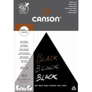 BLOCCO CANSON BLACK 21X29,7 20 FOGLI NERO PROFONDO 240 g/m²