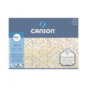 BLOCCO CANSON AQUARELLE 23X31 cm 20 FF 300 g/m  GR. TORCHON