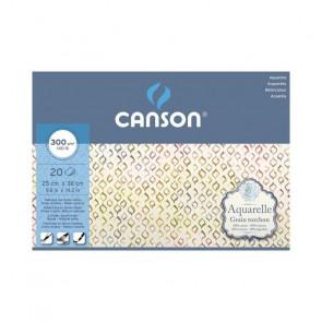 BLOCCO CANSON AQUARELLE 25X36 cm 20 FF 300 g/m GR. TORCHON