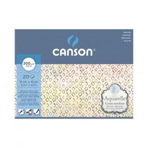BLOCCO CANSON AQUARELLE 31X41 cm 20 FF 300 g/m GR. TORCHON