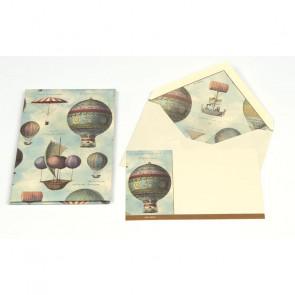 PLICO 10 BIGLIETTI/BUSTE KARTOS 9X14 cm - AIR BALLOONS