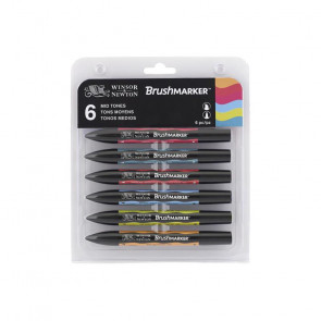 PROMARKER BRUSH WINSOR & NEWTON SET 6 COLORI TONI MEDI