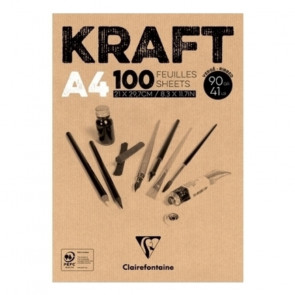 BLOCCO CARTA KRAFT A4 CLAIRFONTAINE 100 FOGLI 90 g/m²