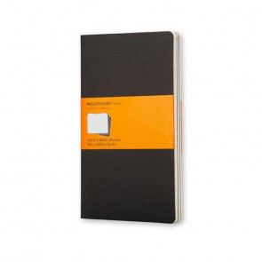 MOLESKINE 3 LARGE RULED JOURNALS BLACK 13X21 cm