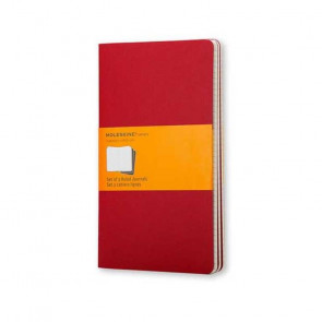 MOLESKINE 3 LARGE RULED JOURNALS RED 13X21 cm