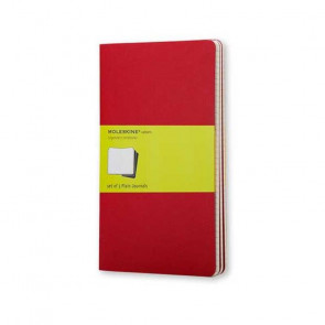 MOLESKINE 3 LARGE PLAIN JOURNALS RED 13X21 cm