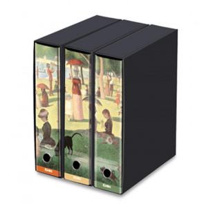 SET 3 REGISTRATORI DORSO 8 cm LA GRAND JATTE - SEURAT