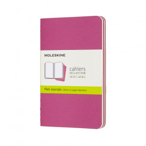 MOLESKINE 3 POCKET PLAIN JOURNALS KINETIC PINK 9X14 cm